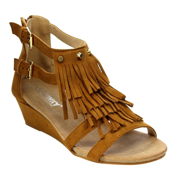 34493588b66 Shop VIA PINKY Fringe Wedges Sandals - Free Shipping On Orders Over ...