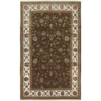 Ecarpetgallery Hand-knotted Harrir Select Green Wool and Art Silk Rug (5' x 8')