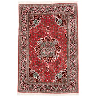 Ecarpetgallery Hand-knotted Kashmir Red Silk Rug (5'11 x 9')