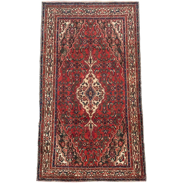 Shop Ecarpetgallery Hand Knotted Persian Kashan Red Wool: Shop Ecarpetgallery Hand-knotted Persian Hosseinabad Red