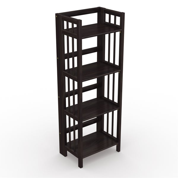no assembly folding four shelf bookcase 16 inches wide free shipping today. Black Bedroom Furniture Sets. Home Design Ideas