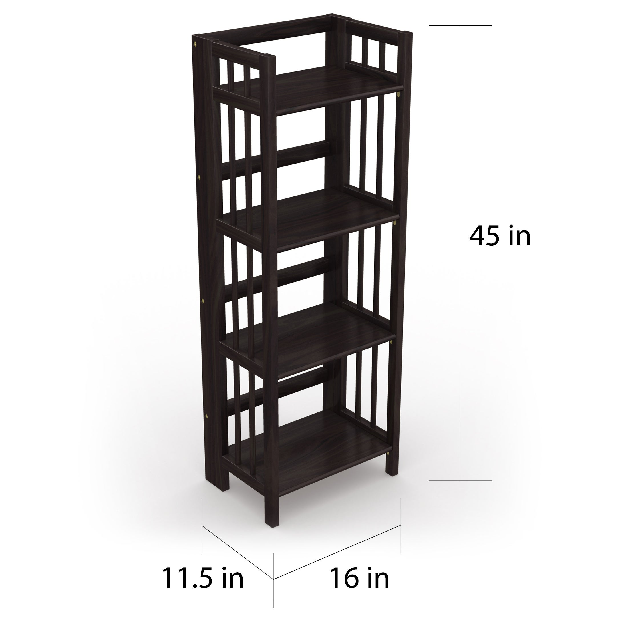 Shop No Assembly Folding Four Shelf Bookcase (16 Inches Wide
