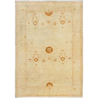 Ecarpetgallery Hand-knotted Peshawar Oushak Beige Wool Rug (6'1 x 8'7)