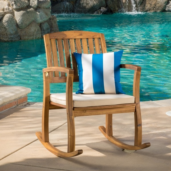 shop lucca outdoor acacia wood rocking chair with cushion by