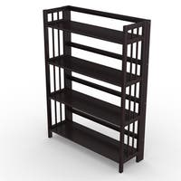 No Assembly Folding Four Shelf Bookcase