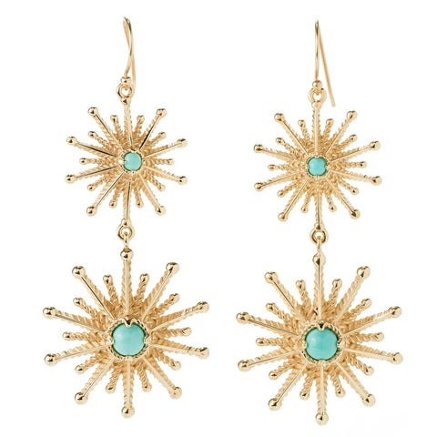 Gold Plate Amazing Turquoise Starburst Earrings