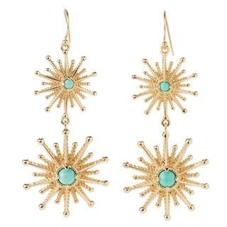 18k Yellow Gold Overlay Starburst Earrings