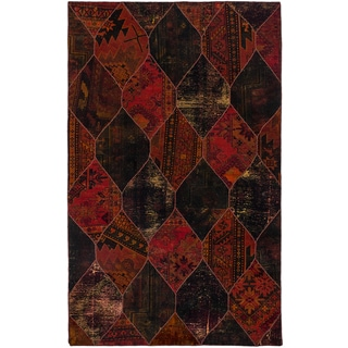 Ecarpetgallery Hand-knotted Andelz Black and Red Wool Rug (5'2 x 8'3)
