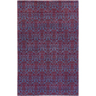 Ecarpetgallery Hand-knotted Authentic Ushak Blue and Red Wool Rug (5'9 x 9')