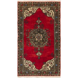 Ecarpetgallery Hand-knotted Anadol Vintage Red Wool Rug (5'4 x 9'3)