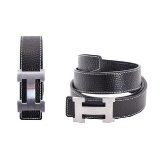 Women's H Belt Reversible Leather With Removable Buckle (Option: Black/Silver)