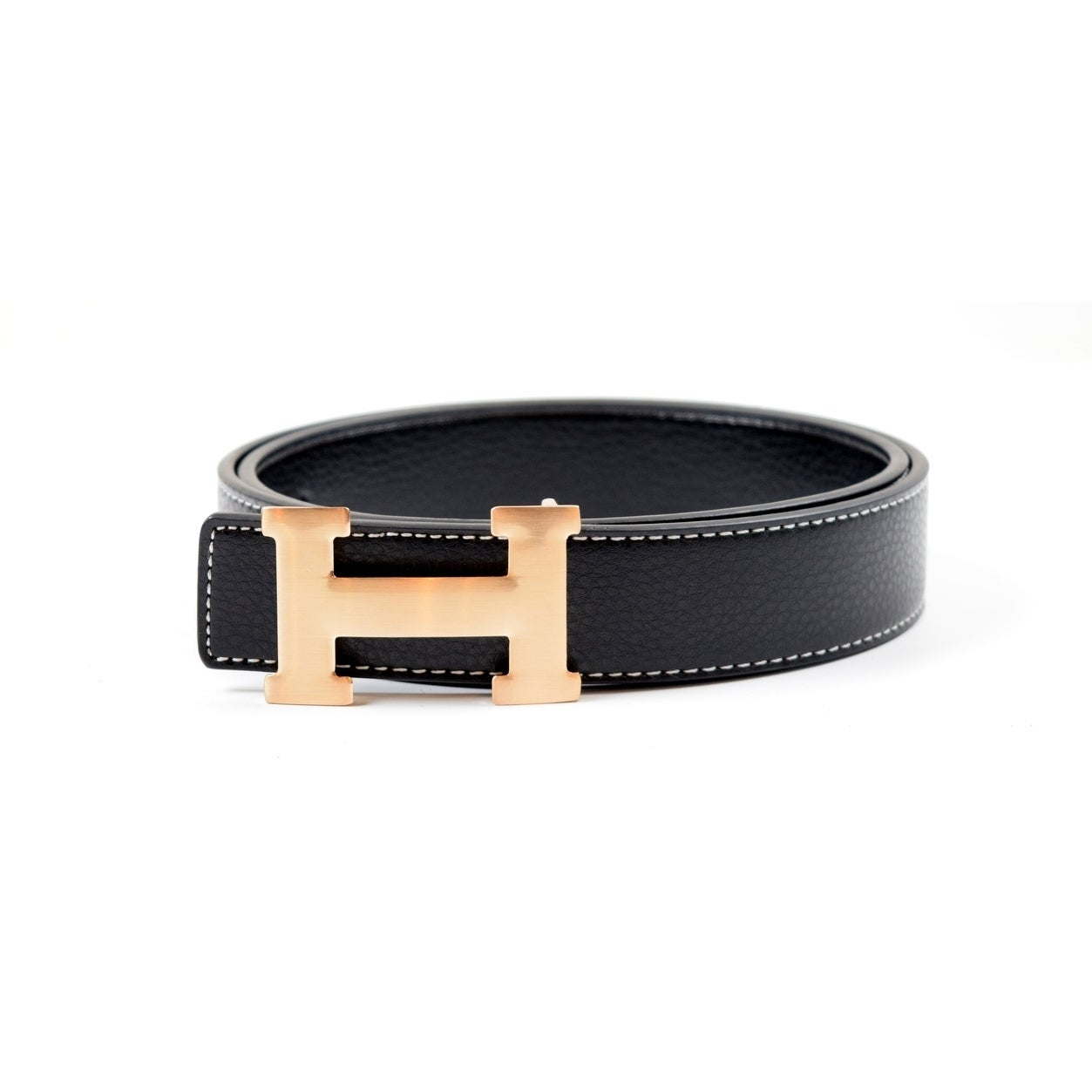 Dinamit Men/'s H Reversible Leather Belt With Removable Buckle