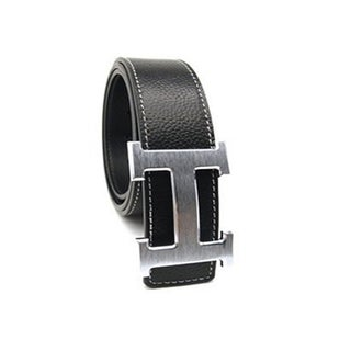 Women's H Belt Reversible Leather with Removable Buckle (Option: Silver/Black)
