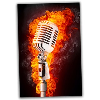 Microphone on Fire 30x20 Ready to Hang Canvas