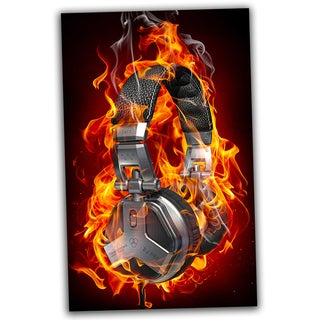 Headphone on Fire 30x20 Ready to Hang Canvas