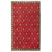 Ecarpetgallery Hand-knotted Keisari Vintage Beige and Red Wool Rug (5' x 8'7)