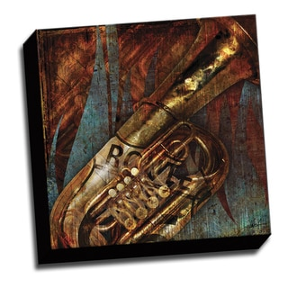 Tuba Route 66 16x16 Music Art Printed on Ready to Hang Framed Stretched Canvas