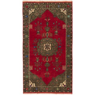 Ecarpetgallery Hand-knotted Konya Anatolian Green and Red Wool Rug (5'1 x 9'5)