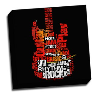 Rock Guitar 16x16 Music Art Printed on Ready to Hang Framed Stretched Canvas