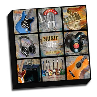 Music Collage 16x16 Music Art Printed on Ready to Hang Framed Stretched Canvas