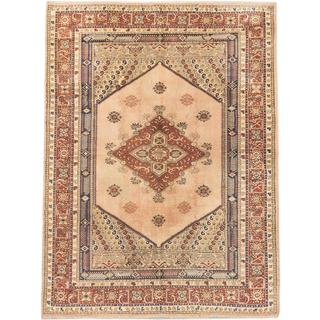 Ecarpetgallery Hand-knotted Ushak Beige and Brown Wool Rug (6'5 x 8'6)