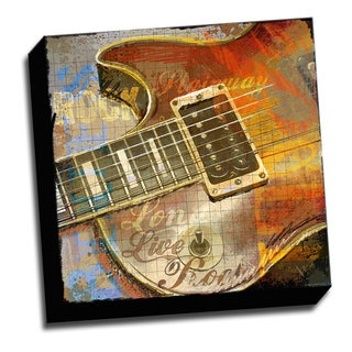Close up Guitar 16x16 Music Art Printed on Ready to Hang Framed Stretched Canvas
