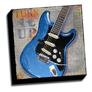 Blue Guitar 16x16 Music Art Printed on Ready to Hang Framed Stretched Canvas