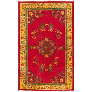 Ecarpetgallery Hand-knotted Melis Vintage Red Wool Rug (5'7 x 9'2)