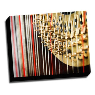 Harp Macro Photo 16x20 Music Art Printed on Framed Ready to Hang Canvas