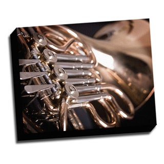 French Horn Macro Photo 16x20 Music Art Printed on Framed Ready to Hang Canvas