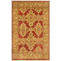 Ecarpetgallery Hand-knotted Jaipur Brown and Yellow Wool Rug (5'9 x 9')