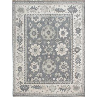 Ecarpetgallery Hand-Knotted Ushak Grey Wool Rug (8'11 x 11'10)