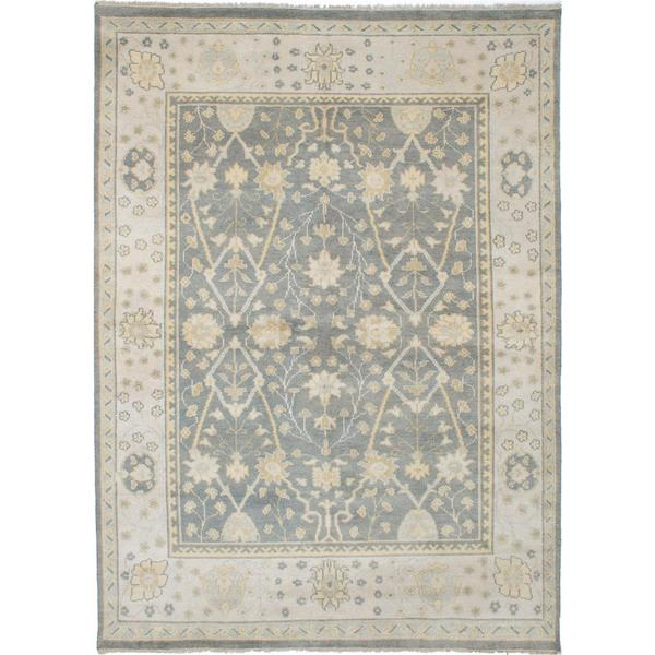 Ecarpetgallery Hand-Knotted Ushak Grey Wool Rug (8'8 x 11'9)