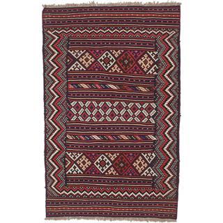 Ecarpetgallery Handmade Persian Flat-weave Persian Blue and Red Wool Kilim (4'10 x 7'8)