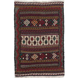Ecarpetgallery Handmade Persian Qashqai Red Wool Kilim (4'9 x 7'3)