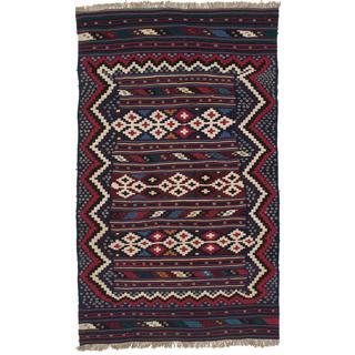 Ecarpetgallery Handmade Persian Qashqai Blue and Red Wool Kilim (4'9 x 7'10)