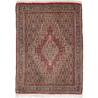 Ecarpetgallery Hand-Knotted Persian Senneh Grey and Red Wool Rug (2'6 x 3'6)