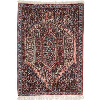 Ecarpetgallery Hand-Knotted Persian Senneh Beige and Blue Wool Rug (2'6 x 3'3)