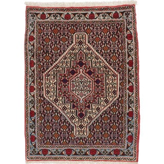 Ecarpetgallery Hand-Knotted Persian Senneh Beige and Blue Wool Rug (2'6 x 3'5)