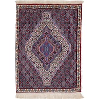 Ecarpetgallery Hand-Knotted Persian Senneh Beige and Blue Wool Rug (2'5 x 3'2)