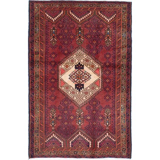 Ecarpetgallery Hand-Knotted Persian Darjazin Orange Wool Rug (4'1 x 6'6)
