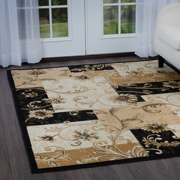 "Home Dynamix Optimum Collection Floral Black Area Rug - 3'7"" x 5'5"""