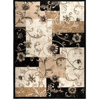 "Home Dynamix Optimum Collection Floral Black Area Rug - 3'7"" x 5'5"""