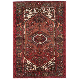 Ecarpetgallery Hand-Knotted Persian Hamadan Brown and Red Wool Rug (4'2 x 6'1)