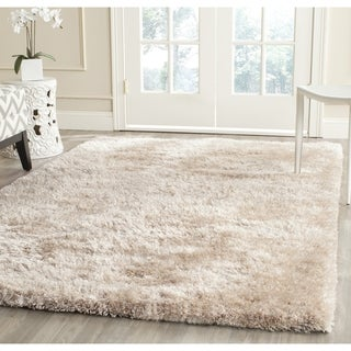 Safavieh Handmade South Beach Shag Champagne Polyester Rug (6' Square)