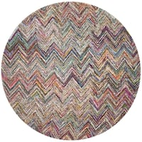 Safavieh Handmade Nantucket Abstract Chevron Multicolored Cotton Rug (8' x 8' Round)