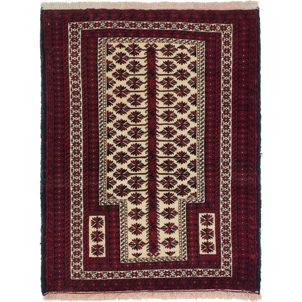 Ecarpetgallery Hand-Knotted Persian Finest Baluch Beige and Red Wool Rug (3'2 x 4'1)