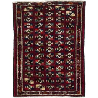 Ecarpetgallery Hand-Knotted Persian Finest Baluch Red Wool Rug (3'7 x 4'10)