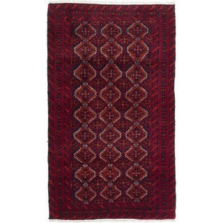 Ecarpetgallery Hand-Knotted Persian Finest Baluch Red Wool Rug (3'2 x 5'5)