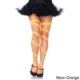 Womens Swirl Diamond Net Thigh Highs